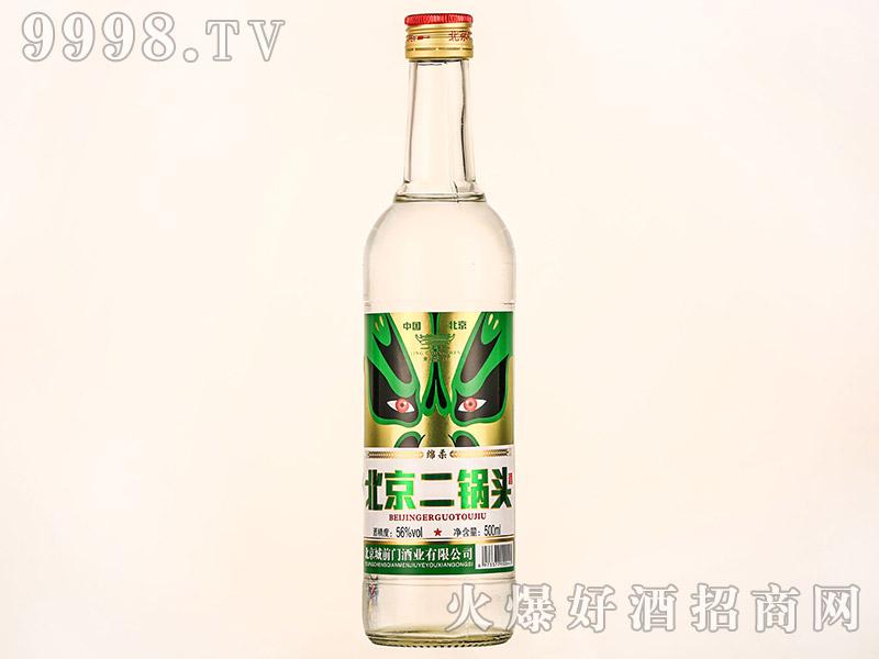 京崇门北京二锅头酒绿脸谱清香型白酒【42°56°500ml】