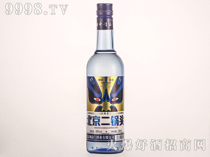 京崇门北京二锅头酒蓝瓶脸谱清香型白酒【42°56°500ml】