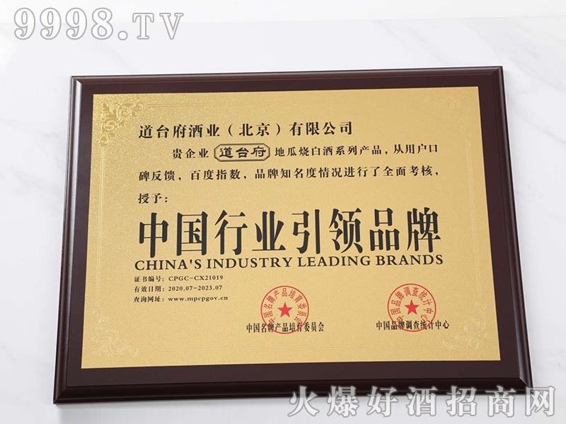 行业引领品牌证书