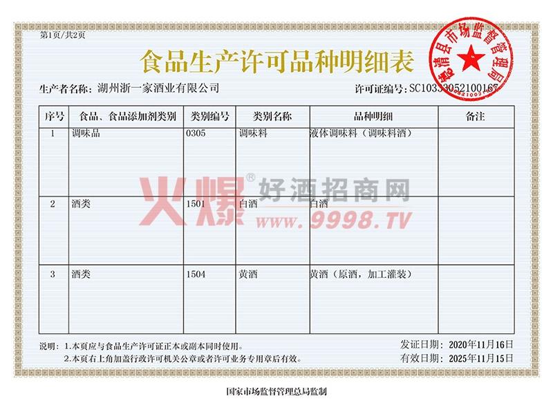 食品生产许可证品种明细表-浙江湖州浙一家酒业有限公司