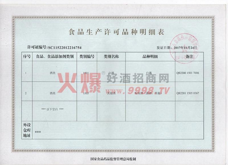 食品生产许可明细表-吉林省世聚福酒业股份有限公司